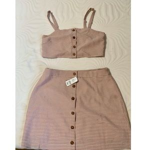 Dusty pink gingham Skirt and top set
